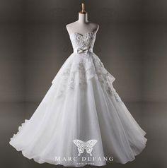 Art no. BG1043 (Pearl Crystals Trimmed, Princess Luxury Organza Bridal Wedding Gown). $499.00, via Etsy.