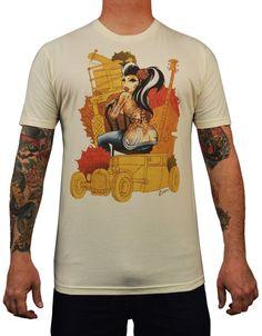 Men's Lucky by Tyson McAdoo Tattooed Pinup Girl Tattoo Art T Shirt – moodswingsonthenet