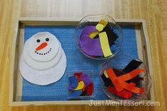 Janaury. Practical life. Build a snowman. With felt.