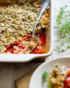 Savory Tomato Crisp Recipe wtih Heirloom Tomatoes from White On Rice Couple