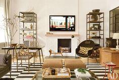 Neutral tones create a serene atmosphere in the family room of Nate Berkus's Manhattan duplex.