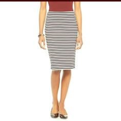Striped Pencil Skirt Horizontal Black and White Stripes-Stretch Extensible...Perfectly Classic Chic!!            Bundle with just ONE OTHER ITEM OF ANY PRICE and save 20% on your entire order✨  *Ship within 24 hours (exc. Sundays and holidays) *Top Rated Seller *Smoke Free/Pet Free Home Merona Skirts Pencil