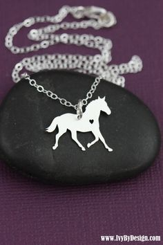CIJ SALE - Horse Necklace - Personalized Horse Lover Gift - Silver Horse - Barrel Racing - Horse Racing - 4H - Rodeo - Equestrian -Pet Horse