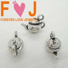 Alice in Wonderland 3D Tea pot 100pcs/lot  Wholesale Retro Vintage Antique tibetan sliver charms beads for jewelry making New-in Charms from...$18