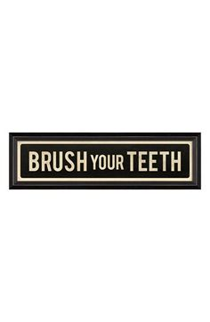 Spicher and Company 'Brush Your Teeth' Vintage Look Sign Artwork | Nordstrom