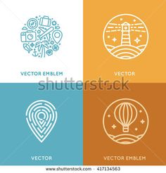 Vector set of logo design template in trendy linear style with icons and emblems - travel agency emblem and tour guide concepts