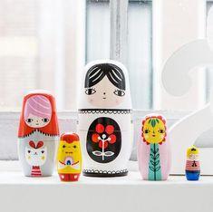 Petite Monkey Fleur & Friends Nesting Dolls on DLK | designlifekids.com