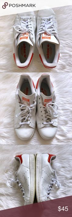 ADIDAS STAN SMITH SNEAKERS Adidas Stan Smith White Sneakers 👟  Size: 9.5 Color: red white This classic style has made a comeback and it will always remain as a classic. Previously Loved. See pics. Great condition. No rips or tears. Soles show wear. adidas Shoes Athletic Shoes