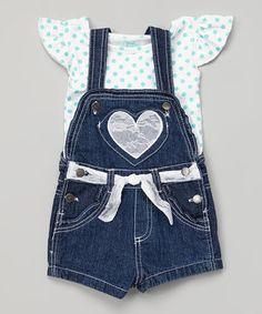 Look what I found on #zulily! Dark Wash Denim Shortalls & Angel-Sleeve Tee - Toddler & Girls by Young Hearts #zulilyfinds