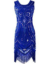 31bc5a2fb9f70d PrettyGuide Damen 1920 Weinlese Perlen Sequin Art Deco Flapper Paisley  Partei-Kleid Weinlese, Kleider