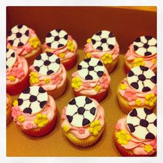 Girly Pink Soccer Ball Cupcakes by  www.facebook.com/ferrissweetscompany