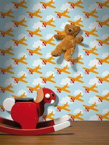 Lavmi behang 'Vliegtuigen' - lichtblauw -De Oude Speelkamer