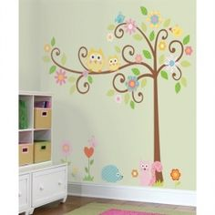 Vogel, reminds me of your bedding.Owls Scroll Tree Wall Decals for Kids Rooms - Owl-themed Nursery - Owl Nursery Decor - Large Adhesive Owl Tree Wall Decals for Nursery, Kid's Room or a Playroom Owl Nursery Decor, Nursery Themes, Girl Nursery, Girls Bedroom, Nursery Room, Bedroom Wall, Themed Nursery, Child's Room, Bedroom Decor