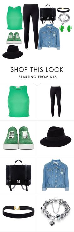 """""""Green and Black"""" by queenalisa on Polyvore featuring Jockey, Off-White, Maison Michel, Topshop and Finest Imaginary"""