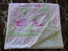 Darling baby children's blanket patchwork quilt Lakewood fabric roses pink green white lavender flannel fleece by AuntieJenniesAttic on Etsy