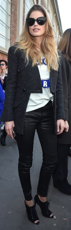 Doutzen Kroes looking especially stylish during Milan Fashion Week
