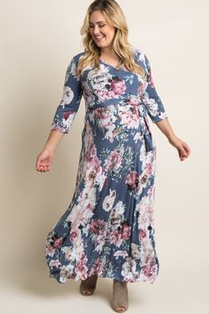 27420d14f3bf0 Abstract Floral Sash Tie Plus Maternity/Nursing Maxi Dress in Grey @ Pink Blush  Maternity