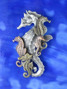 Seahorse Collage Brooch/Pendant by PINSwithPERSONALITY on Etsy