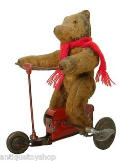Antique Pintel Mechanical Teddy Bear Riding Tricycle France French Wind Up Toy