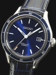 Seiko Blue Dial Automatic Watch with 42.2mm Case, and Sapphire Crystal #SARG015