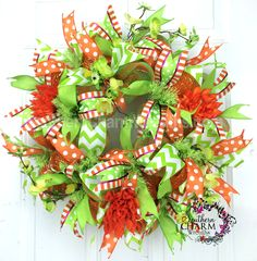 Deco Mesh Spring Wreath -Slim Screen Door Wreath -Lime Green Orange by www.southerncharmwreaths.com $59 #spring #wreath #slim