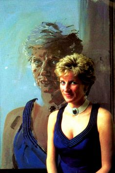 Princess Diana wearing a duck egg sized oval Blue Sapphire brooch, given to her by HRH Queen Elizabeth on her engagement to Prince Charles. She later had the brooch converted into the center piece of a multi strand pearl choker.