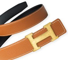 Belt kit 32 mm 32 mm reversible leather strap in Black/Gold, Box/Togo calfskin & H Buckle in hammered gold-plated metal