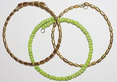 Beaded Bracelet Set  Green and Gold Tone  by SCLadyDiJewelry