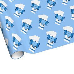 1st Birthday ELEPHANT Year Old Custom Name BLUE Gift Wrap Paper Blue Wrapping