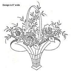 basket of flowers embroidery pattern Floral Embroidery Patterns, Hand Embroidery Tutorial, Embroidery Transfers, Hand Embroidery Designs, Custom Embroidery, Vintage Embroidery, Embroidery Applique, Cross Stitch Embroidery, Machine Embroidery