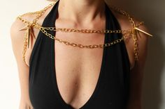 Gold Body Chain with Shoulder Spikes by CourageinViolet on Etsy