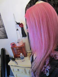 Pink hair and contact stuff~