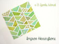 Improv Herringbone tutorial by 13 spools :: I like the white outlines.