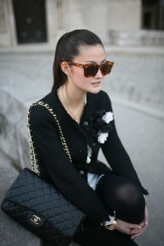 Classic black and white chic with leopard sunnies