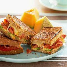 Creamy smoked cheddar, crisp bacon, creamy avocado, and juicy tomato tops honey wheat bread./