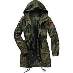 ODD MOLLY Parka ($390) ❤ liked on Polyvore featuring outerwear, coats, jackets, khaki, odd molly, black coat, parka coat, black parka and khaki coat