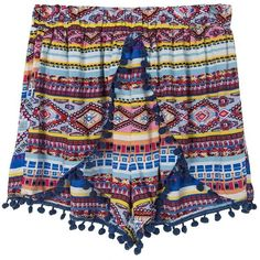 Choies Multicolor Tribe Print Elastic Waist Pom Pom Shorts ($16) ❤ liked on Polyvore