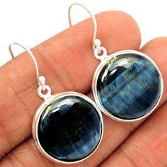 Hawks Eye 925 Sterling Silver Earrings Jewelry BTEE49