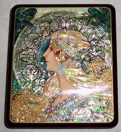 Russian lacquered box with inlaid mother-of-pearl