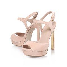 Buy KG by Kurt Geiger Hazel High Platform Leather Sandals, Nude Online at johnlewis.com