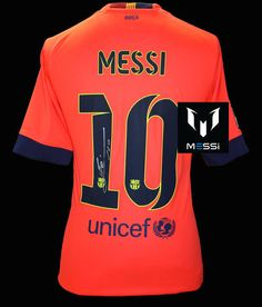 41ad4e21f LIONEL MESSI Signed 2014-15 FC Barcelona Away Shirt Jersey ICONS