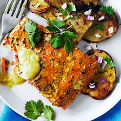 Indian-spiced sockeye and grilled potato salad recipe