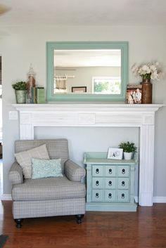 Painted trim fireplace, similar to ours. In love with this color scheme!