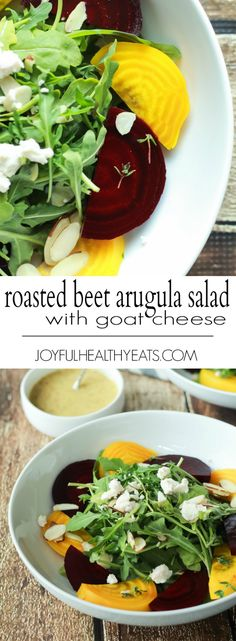 Roasted Beet Arugula Salad with sliced almonds, fresh thyme, and creamy goat cheese then drizzled with a honey dijon vinaigrette - the perfect light salad for your weekend party! Takes minutes to make! | joyfulhealthyeats.com #recipes #vegetarian #glutenfree