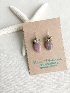 Wire Wrapped Gemstone Cluster Earrings - Dusty Rose and Multicolored Gemstone