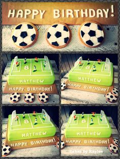Soccer/ football birthday cake with matching soccer ball cookies. Cakes by Kaylee Haman Soccer Cookies, Soccer Cake, Football Birthday Cake, Secret Party, Tree Cakes, Knysna, Plum Tree, No Bake Cake, Party Time