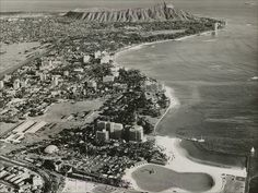 "OAHU.  Pre-Ilikai Waikiki Birdseye c1960    Beautifully detailed black & white by Pacific Area Travel Association from around the time of the Elvis movie ""Blue Hawaii"" in which there are brief glimpses of the Waikiki Shore Apartments under construction."
