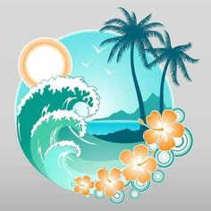 The great Tropical Beach Graphical Element Tropical Tattoo, Tenacious D, Ocean Tattoos, Tatoos, Freundin Tattoos, Hawaiian Art, Beach Design, Surf Art, Beach Art