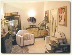 Custom miniature Art Deco living room decor for a recreation of a vintage 1930s Art Deco miniature house.