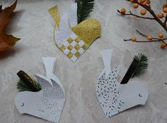 Juleklip - skabelon til flettet fugl